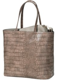 Borsa shopper con goffratura animalier (set 2 pezzi), bpc bonprix collection, Marrone