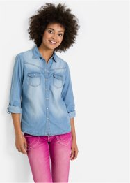 Camicia in jeans, John Baner JEANSWEAR, Blu bleached used