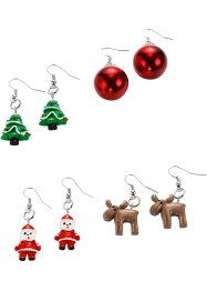 "Orecchini ""Christmas"" (set 4 paia), bpc bonprix collection, Color argento / multicolore"