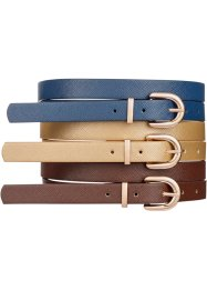 Cintura (set 3 pezzi), bpc bonprix collection, Oro + marrone + blu