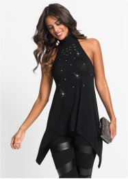 Top con strass, BODYFLIRT boutique, Nero