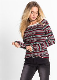 Pullover a costine, RAINBOW, Nero / fragola a righe