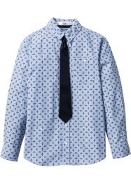 Camicia con cravatta (set 2 pezzi), bpc bonprix collection, Bianco / blu