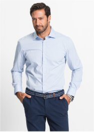 Camicia elasticizzata in microfantasia regular fit, bpc selection, Azzurro fantasia