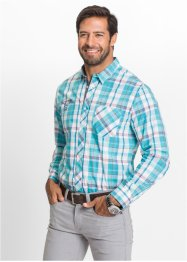 Camicia a quadri a manica lunga regular fit, bpc selection, Turchese / bianco a quadri
