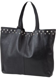 Borsa shopper in pelle con borchie, bpc bonprix collection, Nero