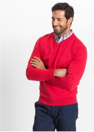 Pullover con scollo a V regular fit, bpc selection, Rosso