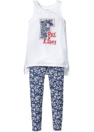 Top lungo + leggings (set 2 pezzi), bpc bonprix collection, Indaco fantasia