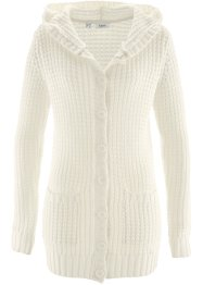 Cardigan con cappuccio, bpc bonprix collection, Bianco panna