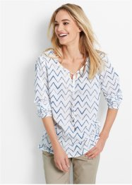 Blusa a manica lunga, bpc bonprix collection, Bianco / blu jeans a righe