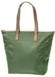 Borsa shopper con similpelle, bpc bonprix collection, Verde oliva