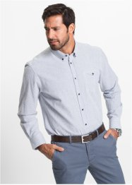 Camicia a righe in seersucker regular fit, bpc selection, Blu notte / bianco a righe