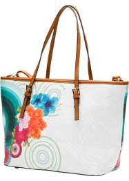 Borsa shopper stampata, bpc bonprix collection, Bianco / multicolore