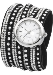 Orologio bracciale con strass, bpc bonprix collection, Nero / color argento