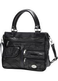 "Borsa in pelle ""Patch"" con cerniere, bpc bonprix collection, Nero"