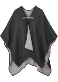 Poncho con fibbia, bpc bonprix collection, Nero