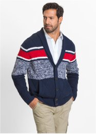 Cardigan con collo a scialle regular fit, bpc selection, Blu scuro / rosso / bianco