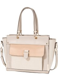Borsa business in tessuto e similpelle, bpc bonprix collection, Ecru / rosa antico