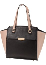 Borsa business con manici, bpc bonprix collection, Nero / rosa antico