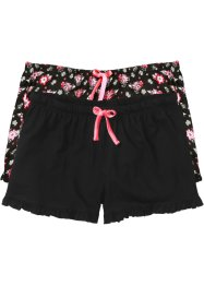 Shorts (pacco da 2), bpc bonprix collection, Nero a fiori