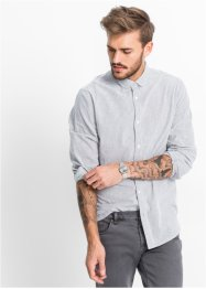Camicia a manica lunga in seersucker slim fit, RAINBOW, Bianco a righe