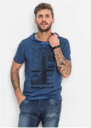 T-shirt con collo a scialle slim fit, RAINBOW, Blu used