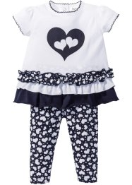 T-shirt + leggings (set 2 pezzi) cotone biologico, bpc bonprix collection, Bianco / blu scuro