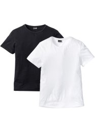 T-shirt lunga regular fit (pacco da 2), RAINBOW, Bianco + nero