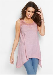 Top in maglina con pizzo Premium, bpc selection premium, Rosa cipria