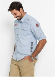 Camicia a manica lunga regular fit, bpc bonprix collection, Azzurro melange
