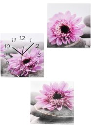 "Set di quadri ""Flowers"" con orologio (set 3 pezzi), bpc living"
