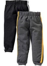 Pantalone in felpa (pacco da 2), bpc bonprix collection, Nero + antracite melange