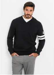Pullover con scollo a V regular fit, bpc bonprix collection, Nero