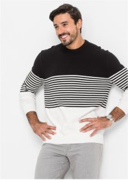Pullover a righe regular fit, bpc selection, Nero / bianco a righe