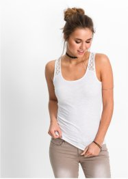 Top a costine con pizzo, RAINBOW, Bianco