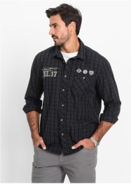Camicia a manica lunga regular fit, bpc bonprix collection, Nero a quadretti