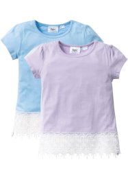 T-shirt con pizzo (pacco da 2), bpc bonprix collection, Blu medio + violetto