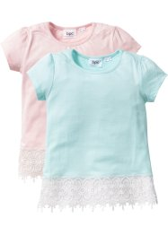 T-shirt con pizzo (pacco da 2), bpc bonprix collection, Rosa tenero + menta pastello