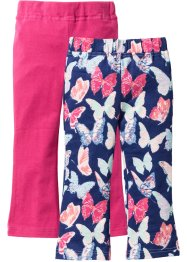 Leggings (pacco da 2), bpc bonprix collection, Blu notte fantasia + fucsia scuro
