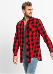 Camicia lunga regular fit, RAINBOW, Nero / rosso a quadri