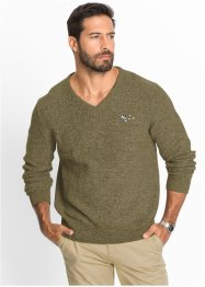 Pullover con scollo a V regular fit, bpc selection, Kaki