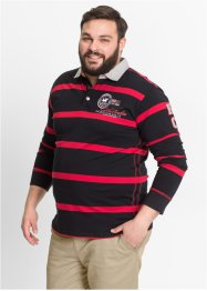Polo a manica lunga regular fit, bpc selection, Nero / rosso a righe