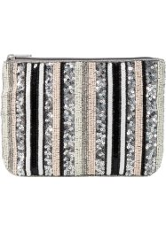 Pochette con righe di paillettes, bpc bonprix collection, Bianco crema / argento / color nudo