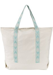 Borsa shopper in cotone, bpc bonprix collection, Beige / menta pastello