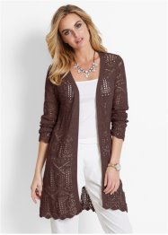 Cardigan traforato, bpc selection, Marrone scuro