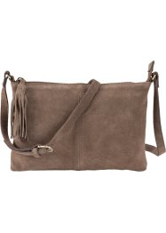 Borsa a tracolla in pelle con nappina, bpc bonprix collection, Marroncino