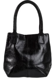 Borsa in pelle metallizzata, bpc bonprix collection, Nero metallizzato