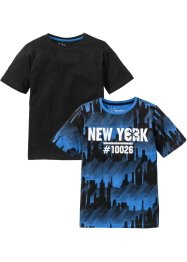 T-shirt (pacco da 2), bpc bonprix collection, Blu reale stampato + nero