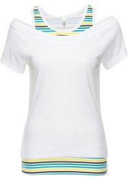 T-shirt 2 in 1, RAINBOW, Bianco a righe