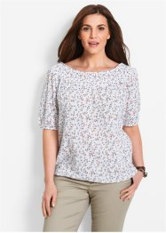 Blusa con scollo a barca e manica a 3/4, bpc bonprix collection, Bianco fantasia